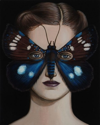 "Argyrolepidia aequalis Moth Mask <br /><br />Medium: Acrylic on canvas<br />Price: Sold<br /><a href=""Artwork-Klein-ArgyrolepidiaaequalisMothMask-2504.htm"">View full artwork details</a>"