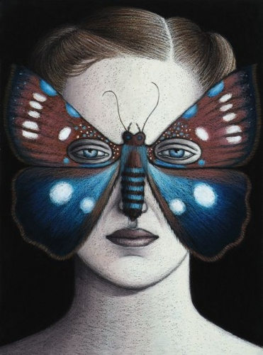 "Argyrolepidia aequalis Moth Mask, Framed<br /><br />Medium: Oil pastel on paper<br />Price: Sold<br /><a href=""Artwork-Klein-ArgyrolepidiaaequalisMothMaskFramed-2488.htm"">View full artwork details</a>"