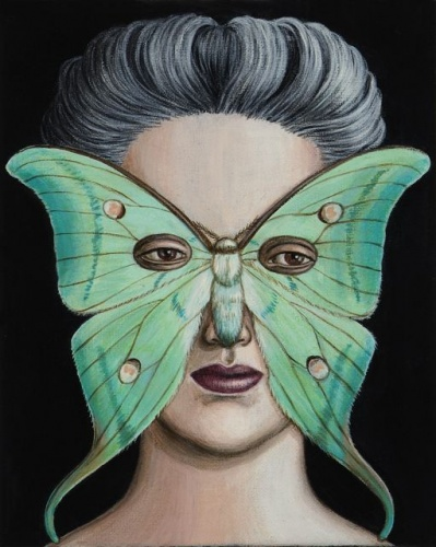 "Atlas selene Moth Mask <br /><br />Medium: Acrylic on canvas<br />Price: $1,200<br /><a href=""Artwork-Klein-AtlasseleneMothMask-2505.htm"">View full artwork details</a>"