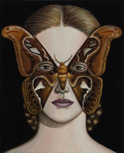 "Attacus Atlas Moth Mask <br /><br />Medium: Acrylic on canvas<br />Price: $1,200<br /><a href=""Artwork-Klein-AttacusAtlasMothMask-2506.htm"">View full artwork details</a>"