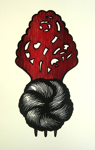 "<h4 style=""margin:0px 0px 5px 0px;"">Cadmium Comb</h4>Medium: Linocut<br />Price: $300 <span style=""color:#aaa"">