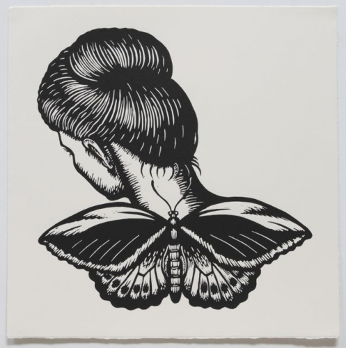 "Cairns Birdwing Winged Woman<br /><br />Medium: Linocut<br />Price: $500<br /><a href=""Artwork-Klein-CairnsBirdwingWingedWoman-2464.htm"">View full artwork details</a>"