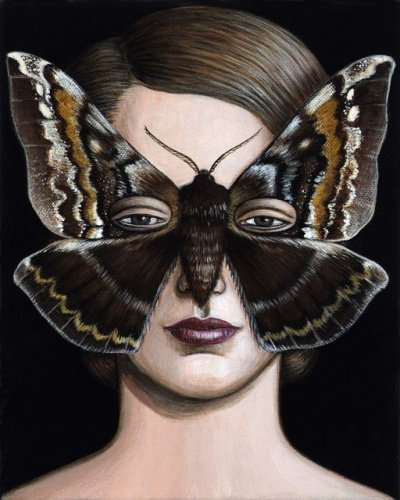 "Chelepteryx collesi Moth Mask <br /><br />Medium: Acrylic on canvas<br />Price: Sold<br /><a href=""Artwork-Klein-ChelepteryxcollesiMothMask-2507.htm"">View full artwork details</a>"