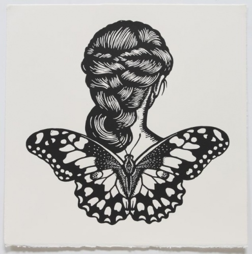 "Chequered Swallowtail Winged Woman<br /><br />Medium: Linocut<br />Price: $500<br /><a href=""Artwork-Klein-ChequeredSwallowtailWingedWoman-2465.htm"">View full artwork details</a>"