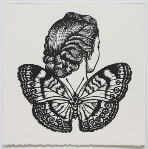 "Chocolate Argus Winged Woman<br /><br />Medium: Linocut<br />Price: $500<br /><a href=""Artwork-Klein-ChocolateArgusWingedWoman-2466.htm"">View full artwork details</a>"