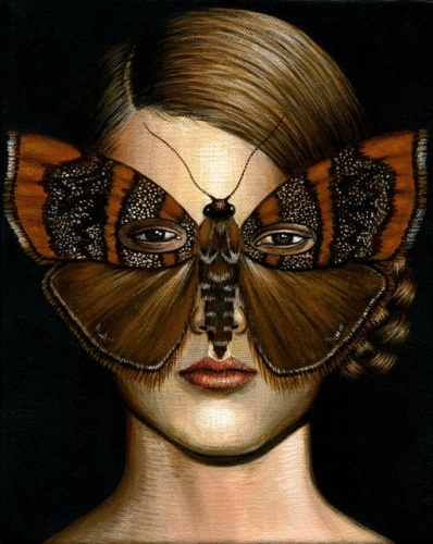 "Choreutis periploca Moth Mask <br /><br />Medium: Acrylic on canvas<br />Price: Sold<br /><a href=""Artwork-Klein-ChoreutisperiplocaMothMask-2508.htm"">View full artwork details</a>"