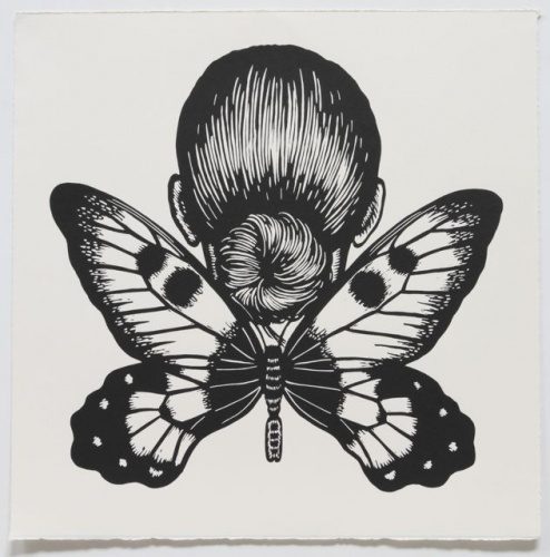 "Clearwing Swallowtail Winged Woman<br /><br />Medium: Linocut<br />Price: $500<br /><a href=""Artwork-Klein-ClearwingSwallowtailWingedWoman-2467.htm"">View full artwork details</a>"