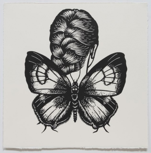 "Common Onyx Winged Woman<br /><br />Medium: Linocut<br />Price: $500<br /><a href=""Artwork-Klein-CommonOnyxWingedWoman-2458.htm"">View full artwork details</a>"