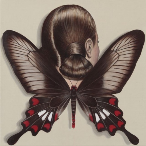 "Common Rose Swallowtail Winged Woman<br /><br />Medium: Acrylic on linen<br />Price: Sold<br /><a href=""Artwork-Klein-CommonRoseSwallowtailWingedWoman-2491.htm"">View full artwork details</a>"