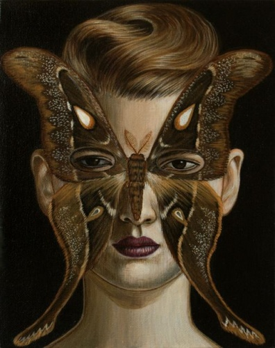 "Coscinocera hercules Moth Mask <br /><br />Medium: Acrylic on canvas<br />Price: Sold<br /><a href=""Artwork-Klein-CoscinoceraherculesMothMask-2509.htm"">View full artwork details</a>"