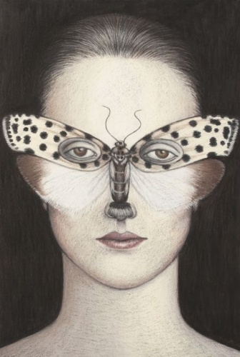 "Ethmia clytodoxa Moth Mask, Framed<br /><br />Medium: Oil pastel on paper<br />Price: Sold<br /><a href=""Artwork-Klein-EthmiaclytodoxaMothMaskFramed-2484.htm"">View full artwork details</a>"