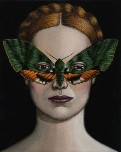 "Euchloron megaera Moth Mask <br /><br />Medium: Acrylic on canvas<br />Price: Sold<br /><a href=""Artwork-Klein-EuchloronmegaeraMothMask-2511.htm"">View full artwork details</a>"