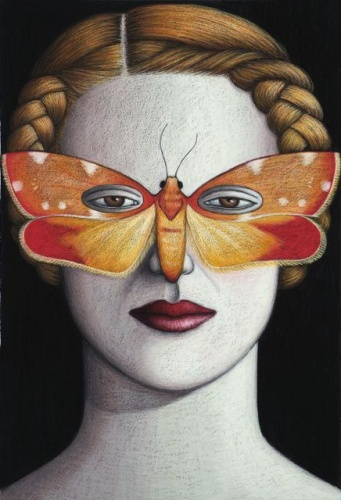 "Eustis carmiaea Moth Mask, Framed<br /><br />Medium: Oil pastel on paper<br />Price: Sold<br /><a href=""Artwork-Klein-EustiscarmiaeaMothMaskFramed-2485.htm"">View full artwork details</a>"