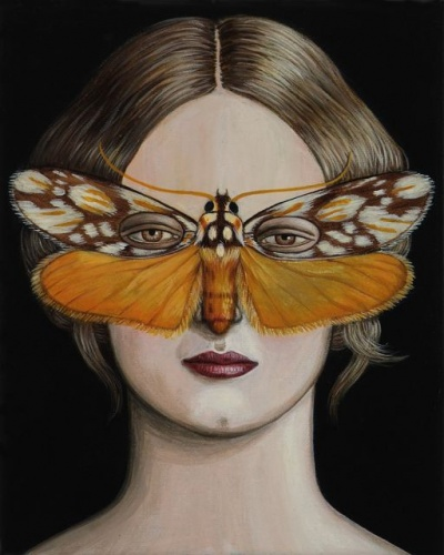 "Eustixis Laetifera Moth Mask <br /><br />Medium: Acrylic on canvas<br />Price: $1,200<br /><a href=""Artwork-Klein-EustixisLaetiferaMothMask-2512.htm"">View full artwork details</a>"