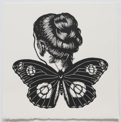 "Great Eggfly Winged Woman<br /><br />Medium: Linocut<br />Price: $500<br /><a href=""Artwork-Klein-GreatEggflyWingedWoman-2469.htm"">View full artwork details</a>"