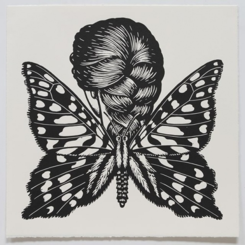 "<h4 style=""margin:0px 0px 5px 0px"">Green-Spotted Triangle Winged Woman</h4>Medium: Linocut<br />Price: $500 