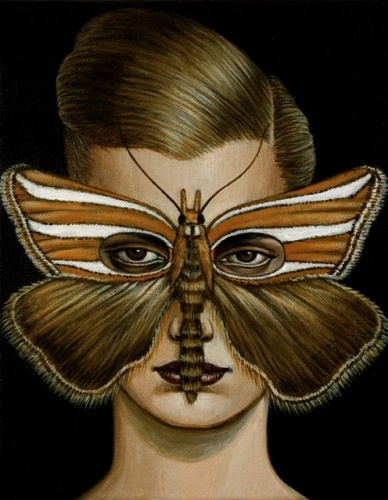 "Hednota bivitella Moth Mask  <br /><br />Medium: Acrylic on canvas<br />Price: Sold<br /><a href=""Artwork-Klein-HednotabivitellaMothMask-2513.htm"">View full artwork details</a>"