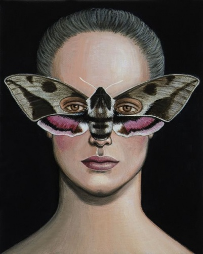 "Hyles lineata Moth Mask <br /><br />Medium: Acrylic on canvas<br />Price: Sold<br /><a href=""Artwork-Klein-HyleslineataMothMask-2514.htm"">View full artwork details</a>"
