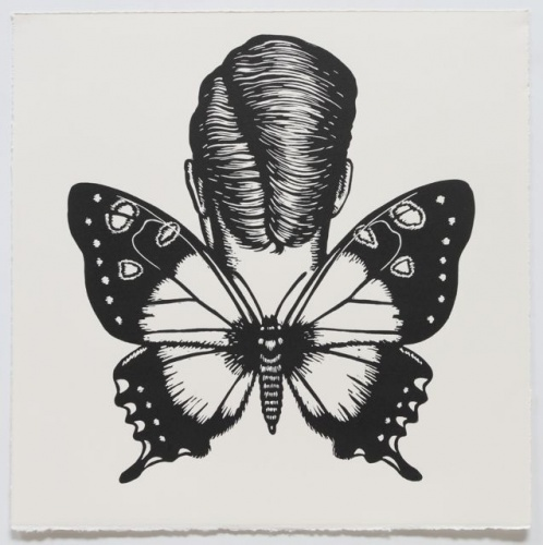 "Macleays Swallowtail Winged Woman<br /><br />Medium: Linocut<br />Price: $500<br /><a href=""Artwork-Klein-MacleaysSwallowtailWingedWoman-2470.htm"">View full artwork details</a>"
