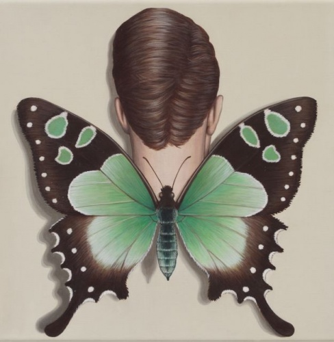 "Macleays Swallowtail Winged Woman<br /><br />Medium: Acrylic on linen<br />Price: $2,400<br /><a href=""Artwork-Klein-MacleaysSwallowtailWingedWoman-2492.htm"">View full artwork details</a>"