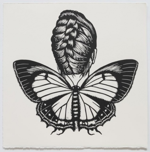 "Macqueens Hairstreak Winged Woamn<br /><br />Medium: Linocut<br />Price: $500<br /><a href=""Artwork-Klein-MacqueensHairstreakWingedWoamn-2471.htm"">View full artwork details</a>"