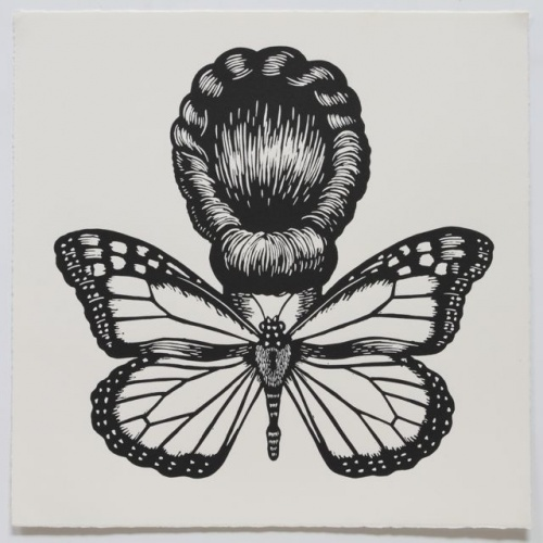 "Monarch Butterfly Winged Woman<br /><br />Medium: Linocut<br />Price: $500<br /><a href=""Artwork-Klein-MonarchButterflyWingedWoman-2472.htm"">View full artwork details</a>"