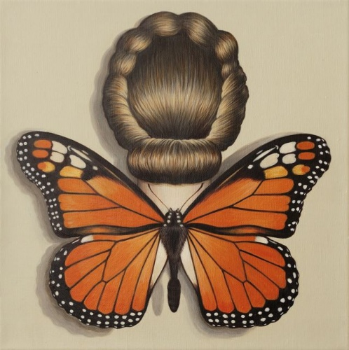 "Monarch Butterfly Winged Woman<br /><br />Medium: Acrylic on linen<br />Price: $2,400<br /><a href=""Artwork-Klein-MonarchButterflyWingedWoman-2493.htm"">View full artwork details</a>"
