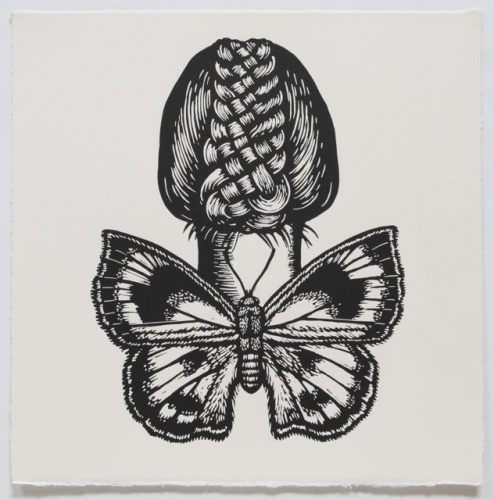 "Moth Butterfly Winged Woman<br /><br />Medium: Linocut<br />Price: $500<br /><a href=""Artwork-Klein-MothButterflyWingedWoman-2476.htm"">View full artwork details</a>"