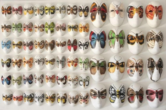 "Moth Masks  comprised of multiple individual masks in two sizes <br /><br />Medium: Acrylic on plaster masks, miniature and small<br />Price: $ Price On Application<br /><a href=""Artwork-Klein-MothMaskscomprisedofmultipleindividualmasksintwosizes-2497.htm"">View full artwork details</a>"