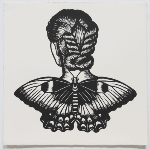 "Orchard Swallowtail Winged Woman<br /><br />Medium: Linocut<br />Price: $500<br /><a href=""Artwork-Klein-OrchardSwallowtailWingedWoman-2473.htm"">View full artwork details</a>"