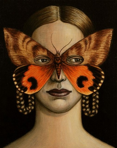 "Othreis fullonia Moth Mask <br /><br />Medium: Acrylic on canvas<br />Price: $1,200<br /><a href=""Artwork-Klein-OthreisfulloniaMothMask-2515.htm"">View full artwork details</a>"