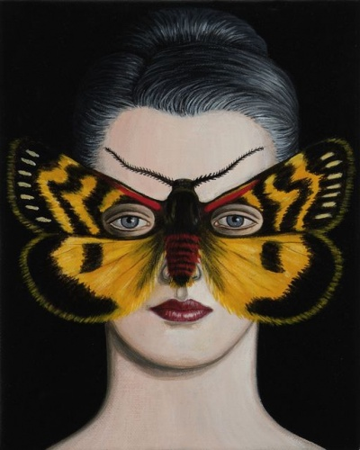 "Phaos aglaophara Moth Mask <br /><br />Medium: Acrylic on canvas<br />Price: Sold<br /><a href=""Artwork-Klein-PhaosaglaopharaMothMask-2516.htm"">View full artwork details</a>"