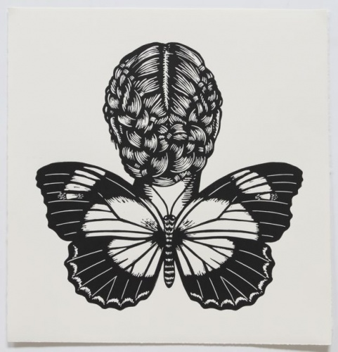 "Red Lacewing Butterfly Woman<br /><br />Medium: Linocut<br />Price: $500<br /><a href=""Artwork-Klein-RedLacewingButterflyWoman-2477.htm"">View full artwork details</a>"