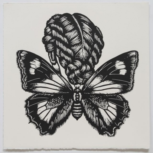 "Southern Purple Azure Winged Woman<br /><br />Medium: Linocut<br />Price: $500<br /><a href=""Artwork-Klein-SouthernPurpleAzureWingedWoman-2460.htm"">View full artwork details</a>"