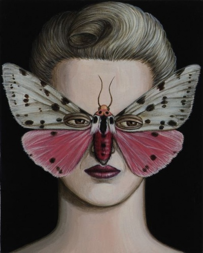 "Spilosoma Moth Mask<br /><br />Medium: Acrylic on canvas<br />Price: Sold<br /><a href=""Artwork-Klein-SpilosomaMothMask-2517.htm"">View full artwork details</a>"