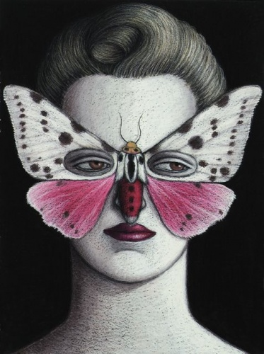 "Spilosoma Moth Mask, Framed<br /><br />Medium: Oil pastel on paper<br />Price: Sold<br /><a href=""Artwork-Klein-SpilosomaMothMaskFramed-2490.htm"">View full artwork details</a>"