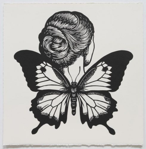 "Ulysses Butterfly Winged Woman<br /><br />Medium: Linocut<br />Price: $500<br /><a href=""Artwork-Klein-UlyssesButterflyWingedWoman-2474.htm"">View full artwork details</a>"