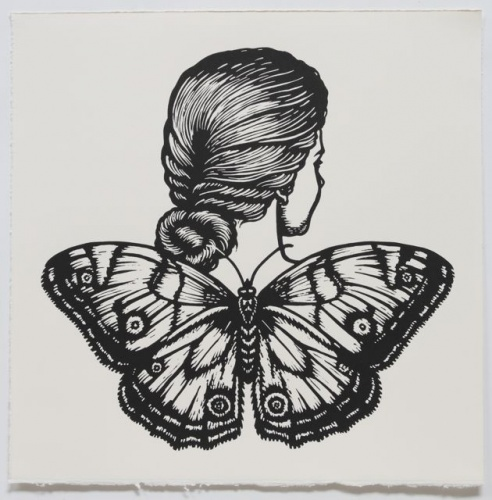 "Varied Sword-grass Brown Winged Woman<br /><br />Medium: Linocut<br />Price: $500<br /><a href=""Artwork-Klein-VariedSwordgrassBrownWingedWoman-2475.htm"">View full artwork details</a>"
