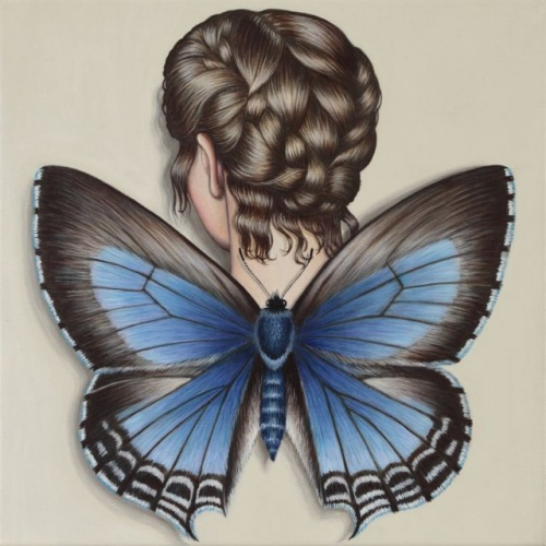 "Wattle Blue Butterfly Winged Woman<br /><br />Medium: Acrylic on linen<br />Price: Sold<br /><a href=""Artwork-Klein-WattleBlueButterflyWingedWoman-2553.htm"">View full artwork details</a>"