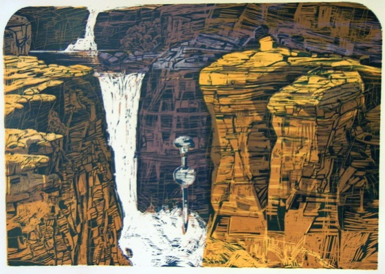 Jim Jim Falls Wood Cut by Geoff LaGerche
