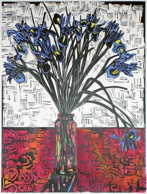 "<h4 style=""margin:0px 0px 5px 0px"">Iris</h4>Medium: Linocut  Hand Coloured<br />Price: $440 