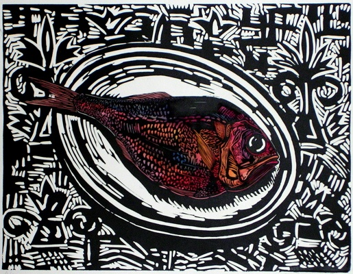 "<h4 style=""margin:0px 0px 5px 0px;"">Red Fish</h4>Medium: Linocut  Hand Coloured<br />Price: $440 <span style=""color:#aaa"">