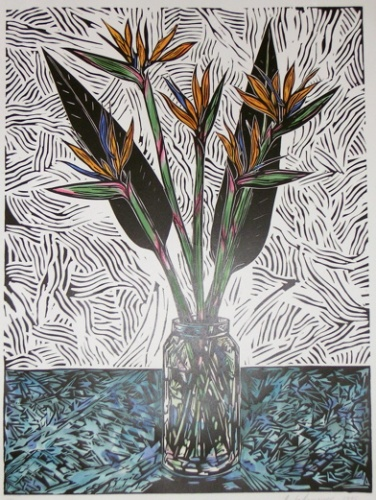 "<h4 style=""margin:0px 0px 5px 0px;"">Strelitzia</h4>Medium: Linocut Hand Coloured<br />Price: $440 <span style=""color:#aaa"">