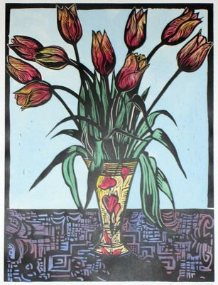 "<h4 style=""margin:0px 0px 5px 0px;"">Tulips</h4>Medium: Linocut  Hand Coloured<br />Price: $440 <span style=""color:#aaa"">