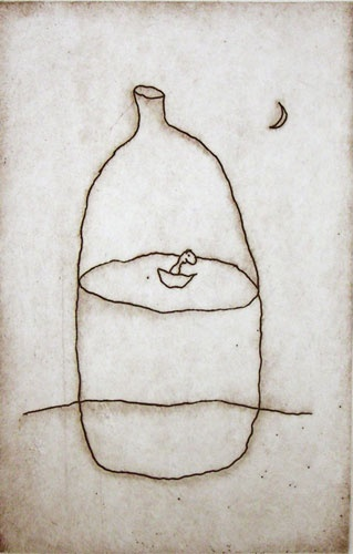 Bottle and boat by Michael Leunig