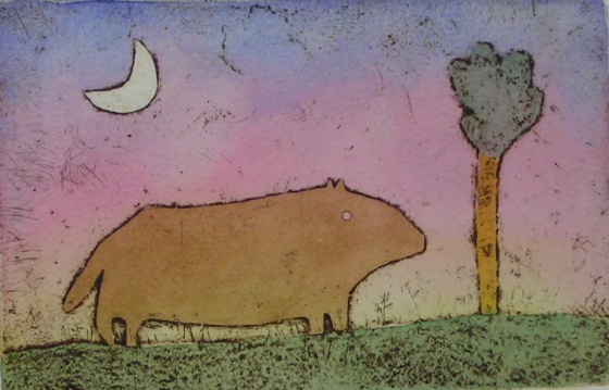 "<h4 style=""margin:0px 0px 5px 0px;"">Plain Beast</h4>Medium: Engraving/Collagraph on particle board<br />Price: $1,200 <span style=""color:#aaa"">