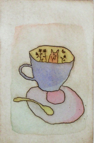"<h4 style=""margin:0px 0px 5px 0px"">The Blue Cup</h4>Medium: Etching on copper/Hand coloured by the artist<br />Price: Currently Unavailable 
