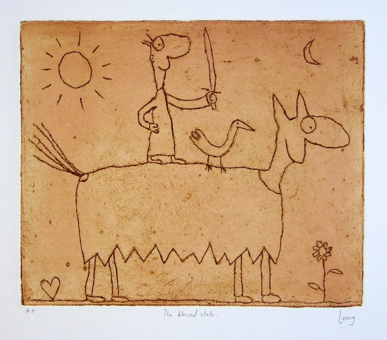 "<h4 style=""margin:0px 0px 5px 0px"">The blessed state</h4>Medium: Engraving on particle board/Colour roll up<br />Price: Currently Unavailable 