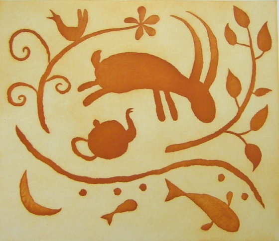 "<h4 style=""margin:0px 0px 5px 0px"">The leap of faith, sienna (1 of 3 colour states)</h4>Medium: Etching with Sugarlift/Aquatint on steel<br />Price: Currently Unavailable 