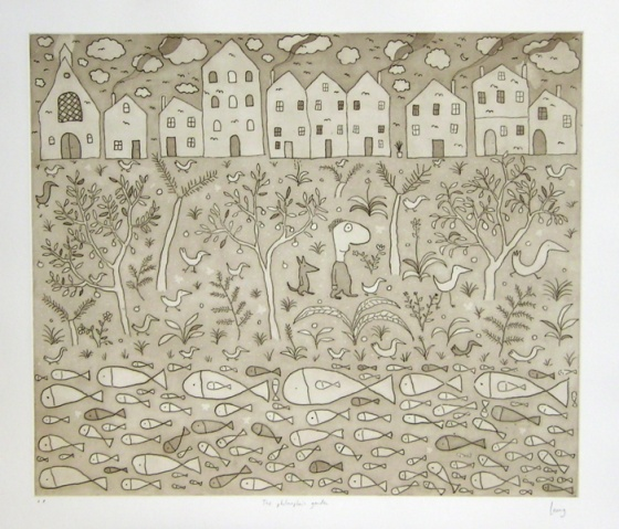 "<h4 style=""margin:0px 0px 5px 0px"">The philosophers garden (2 colour states)</h4>Medium: Etching on steel<br />Price: Currently Unavailable 